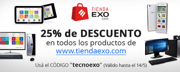 """Descuento del 25%, en la tienda online www.tiendaexo.com con el código """"tecnoexo"""", hasta el 14 de Mayo de 2018."""